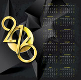 Calendar 2016 vector design template on abstract dark background. With golden numbers Royalty Free Stock Photos