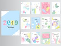 Calendar 2019 Vector Design Template with abstract pattern,Set of 12 Months,vector illustrations. Calendar 2019 Vector Design Template with abstract pattern,Set royalty free illustration