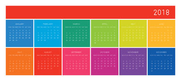 2018 Calendar. Calendar vector design and template.  background Royalty Free Illustration