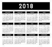 Calendar 2018. Calendar vector design and template. Isolated background Royalty Free Illustration