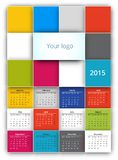 Calendar 2015. Vector design template with squares background style. Poster a3-a4 size proportion royalty free illustration