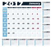 Calendar 2017 vector design template. Week starts with Monday. European version Royalty Free Stock Images