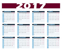 Calendar 2017 vector design template. Week starts with Monday. European version Royalty Free Stock Photography