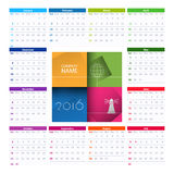 Calendar 2016 vector design template. Week starts Sunday Royalty Free Stock Photos