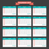 2017 Calendar vector design template. Week starts Sunday. Vector illustration Royalty Free Illustration