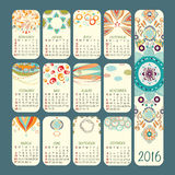 Calendar 2016 vector design. Week starts Sunday. Calendar vector design. Week starts Sunday. Every month has own details. There are many warm colors stock illustration