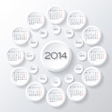 Calendar 2014 vector. Vector 2014 calendar design. white circles 3d calendar design template Stock Photo