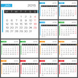 Calendar 2015 vector desing template. Calendar 2015 vector design template. Simple blank calendar illustration Royalty Free Stock Photography