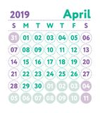 Calendar 2019. Vector English calender. April month. Week starts. On Sunday. Ready design template. Planner. Business planning. Trend purple and green colors stock illustration