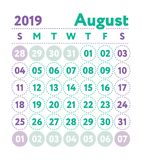 Calendar 2019. Vector English calender. August month. Week start. S on Sunday. Ready design template. Planner. Business planning. Trend purple and green colors stock illustration