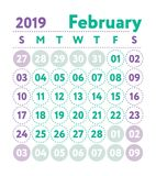 Calendar 2019. Vector English calender. February month. Week sta. Rts on Sunday. Ready design template. Planner. Business planning. Trend purple and green colors stock illustration