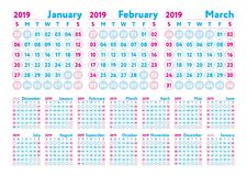 Calendar 2019. Vector English calender. January, February, March. April and May, June, July, August and September, October, November and December. Week starts Royalty Free Illustration