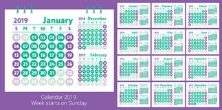 Calendar 2019. Vector English calender. January, February, March. And April, May, June, July and August, September, October and November and December. Week Royalty Free Stock Images