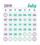 Calendar 2019. Vector English calender. July month. Week starts. On Sunday. Ready design template. Planner. Business planning. Trend purple and green colors vector illustration