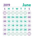 Calendar 2019. Vector English calender. June month. Week starts. On Sunday. Ready design template. Planner. Business planning. Trend purple and green colors vector illustration
