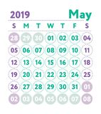 Calendar 2019. Vector English calender. May month. Week starts o. N Sunday. Ready design template. Planner. Business planning. Trend purple and green colors vector illustration