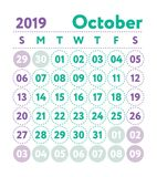 Calendar 2019. Vector English calender. October month. Week star. Ts on Sunday. Ready design template. Planner. Business planning. Trend purple and green colors stock illustration