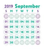 Calendar 2019. Vector English calender. September month. Week st. Arts on Sunday. Ready design template. Planner. Business planning. Trend purple and green royalty free illustration
