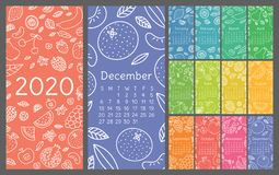 Calendar 2020. Vector English wall calender template. Fruits, berries. Lemon, kiwi, banana, pear, cherry, strawberry, raspberry,. Calendar 2020. Vector English stock illustration