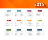 Calendar 2015. Vector english calendar 2015 year Stock Illustration