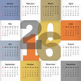 Calendar for 2016 Royalty Free Stock Photo
