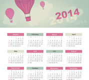 Calendar 2014. Vector calendar for 2014 eps without transparency Royalty Free Stock Photo
