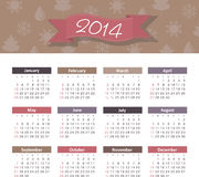 Calendar 2014. Vector calendar for 2014 eps without transparency Royalty Free Stock Image