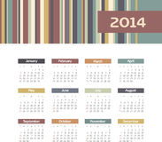 Calendar 2014. Vector calendar for 2014 eps without transparency Stock Images