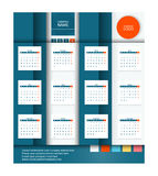 Calendar 2016 Vector Flat Design Template.Square stylized. Calendar 2016 Vector Flat Design Template.Week Starts Monday.Square stylized Royalty Free Stock Photos