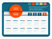 Calendar 2016 Vector Flat Design Template Stock Photo