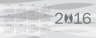 Calendar for 2016 Royalty Free Stock Images