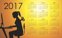 Calendar for 2017 Royalty Free Stock Photography