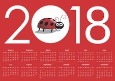 Calendar for 2018. Vector format Royalty Free Stock Photos