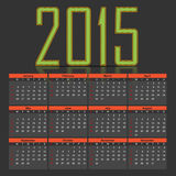 2015 calendar. Vector 2015 calendar on a grey background Royalty Free Stock Images