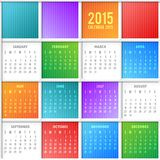 Calendar. Vector calendar grid 2015 year on abstract background Stock Images