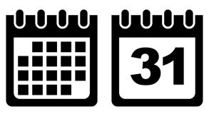 Calendar vector icon black and white Royalty Free Stock Photo