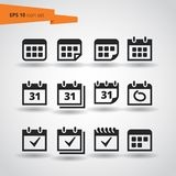 12 Calendar Vector Icon Set. EPS10. Black and white vector calendar icons for web and print. Can be colored in any color. Calendar Icon Set. Calendar Icon Set stock illustration