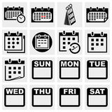 Calendar vector icons set. Royalty Free Stock Photos