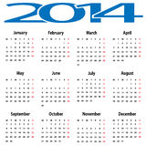 Calendar 2014. Royalty Free Stock Photos
