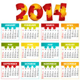 Calendar. Vector illustration of 2014 calendar Royalty Free Stock Photo