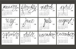 Calendar 2017 : Vector Illustration. Black and white hanrdrawn lettering Stock Illustration