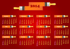Calendar 2014. Vector illustration of bright calendar for the New 2014 stock illustration