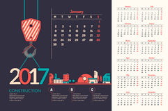 Calendar 2017. Vector illustration. Construction. Stylish minimalist calendar happy New Year 2017. Vector illustration Royalty Free Stock Photos