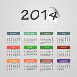 Calendar 2014 - Vector Illustration Design. Calendar Card Template for Year 2014 - Illustration in Editable Vector Format stock illustration