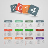 Calendar 2014 - Vector Illustration Design. Calendar Card Template for Year 2014 - Illustration in Editable Vector Format royalty free illustration