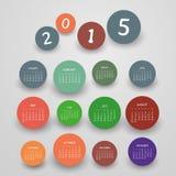 Calendar 2015 - Vector Illustration Design. Colorful Calendar Card Template, 365 Days of Year 2015 - Illustration in Editable Vector Format Stock Images