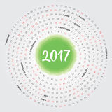 2017 Calendar. Vector Illustration of 2017 Calendar Design with spiral months Stock Photography