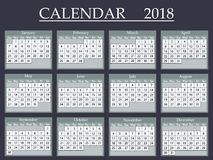 Calendar 2018. Vector illustration eps 10 vector illustration