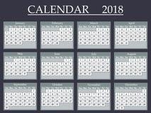 Calendar 2018. Vector illustration eps 10.  vector illustration