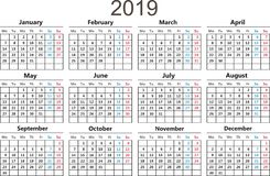 Calendar 2019. Vector illustration. Flat design. Isolated on White Background. Calendar 2019. Vector illustration new year royalty free illustration